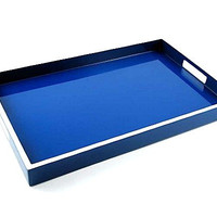 Lacquer Breakfast Tray 22 x 14 True Blue with White Trim