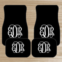 Personalized Car Mats - Monogrammed Car Mats - Black Car Mats with Colored Monogram - Custom Car Mats - Car Accessories - New Driver Gift