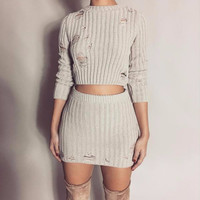 Chic Ripped Sweater Two-Piece