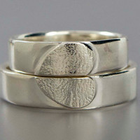 Heart Wedding Ring Set - We Hold One Heart in Sterling Silver