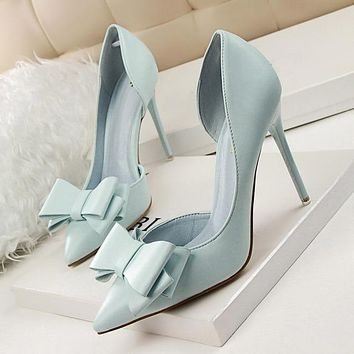 Fashion Women Pumps Sexy High Heels Solid Pointed Toe Stiletto Bow Ladies Shoes