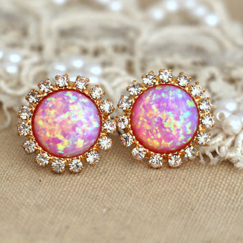 Pink Opal stud earrings with white rhinestones, bridesmaids jewelry,wedding earrings, fashion jewelry - 14k gold plated swarovski earrings