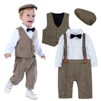 Newborn Baby Boys Clothing Set Infant Gentleman Outfit  Baby Formal Suspender Overalls Autumn Winter Long Sleeve Romper