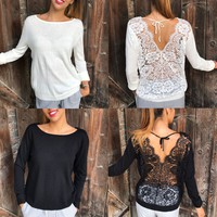 Sexy Solid Color Round Neck Backless Long Sleeve Lace Top