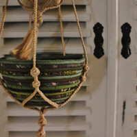 Hanging Rope for 2 Bowls, Handmade Braided Rope, Rope for pot/basket/bowl hanging