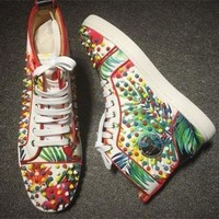 DCCK Cl Christian Louboutin Louis Spikes Style #1859 Sneakers Fashion Shoes
