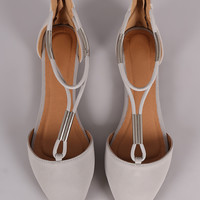 Qupid Metallic Hardware T-Strap Pointy Toe Flat
