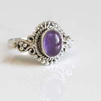 925 Sterling Silver Ring with Natural Amethyst, US7, US7.5