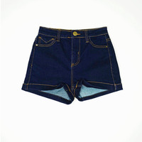 Walden High Waisted Denim Shorts: Indigo