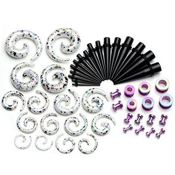 """PiercingJ 48 Pieces Acrylic Gauge Kit Spiral Tapers Tunnels and Plugs 12G-1/2"""" Ear Stretching Starter - 24 Pairs"""