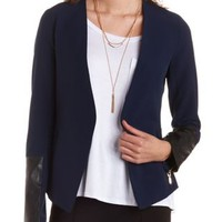 Collarless Faux Leather Trim Blazer by Charlotte Russe