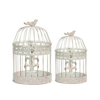 Exclusive 2 Piece Metal Bird Cage By Benzara