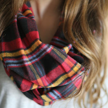 Plaid Infinity scarf, Warm winter Infinity Scarf, Plaid flannel scarf