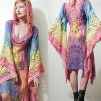 Lace Dress OMBRE Rainbow Festival Bell Angel sleeve Tie-dye VINTAGE Tunic 70s Bohemian Hippie vtg Cotton Pastel Sheer XS S