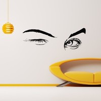 Wall Decal Vinyl Sticker Beauty Girl Eyes Salon Spa Decor Sb700