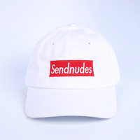 The Send Nudes Dad Hat in White - Shop Jeen - powered by Hingeto