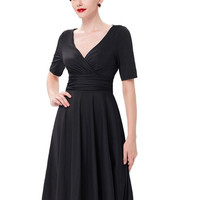 Women Winter Fashion Dress 2017 Sexy Fitted Short Sleeve V-neck Stretch Maxi Party Work Dress Vestidos Woman Office Dresses