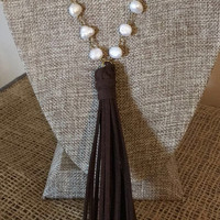 Pearl Beaded Chain with Faux Leather Tassel  Necklace