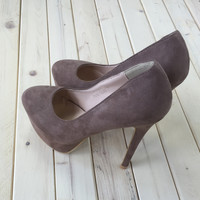 A Classic Suede Taupe Heel