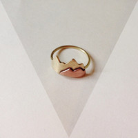 Mountain ring, stack rings, minimalist mountain ring, brass and copper ring, handmade jewelry, everyday jewelry