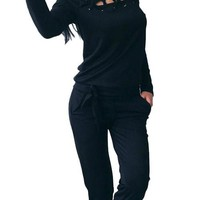 Unique Black High Neck Long Sleeves Sweat Suit 2 Piece