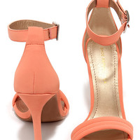 Reservation for Two Peach Nubuck Single Strap Heels
