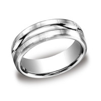 Benchmark 7.5mm Comfort-Fit Carved Design Wedding Band Features a Satin-Finished and High Polished Center