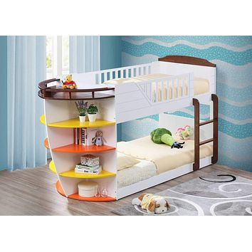 """Bunk Beds - 100"""" X 41"""" X 57"""" White And Chocolate Twin Over Twin Bunk Bed With Storage Shelf"""