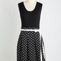 Mid-length Sleeveless Fit & Flare Scenic Road Trip Dress in Black Dots