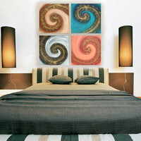 """Original Contemporary textured Painting on canvas """"Swirl"""" KSAVERA  30x30x1,6 Relief Gold Art Nouveau for Office Livingsroom Bettroom"""