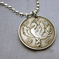 Vintage Silver Japanese 100 Yen COIN NECKLACE, phoenix, fire plumage, asian, mythology - rebirth - wedding - coin jewelry - sterling coin