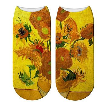 Sunflower Classical Painting Ankle Socks