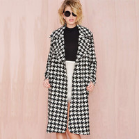 Casual Houndstooth Lapel Collar Wool Coat