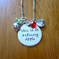 """Snow White Inspired Necklace. Poison Apple. Evil Queen Villain. """"This is no ordinary apple"""". Wicked Queen. Silver colored. Swarovski crystal"""