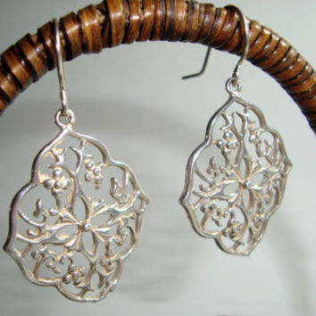 hand Cast Sterling Silver Filigree Earrings with Sterling Silver Ear Wires - Handmade - Fine Jewelry - Handmade Design