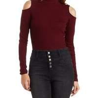 Burgundy Ribbed Cold Shoulder Mock Neck Top by Charlotte Russe