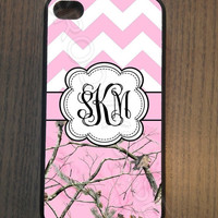 ON SALE Pink Chevron and Pink Camo Monogram iPhone 4 4S 5 5S 5C Samsung Galaxy S3 S4 Rubber Case