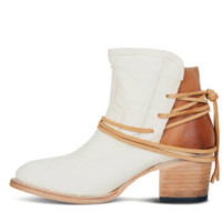 New thick heel follows after lacing belt low boot female