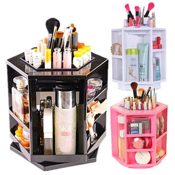 Spinning 360 Degree Rotating Assembly Spinning Rack Cosmetics Organizer Makeup Tower