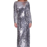 Beautifly Sexy Sequins Long Sleeves Party Evening Gown Dress(silver 4)