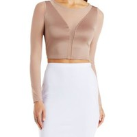 Plunging Mesh & Knit Crop Top by Charlotte Russe