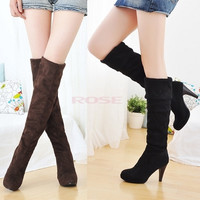 Women Lady Thigh Over Knee Stretchy Shoes Boots High Heel Black Brown 3372 Women's shoes = 1745314436