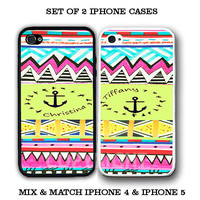 Personalized Yellow Anchor Aztec BFF Best Friends iPhone Case - 2 iPhone 5 Cases