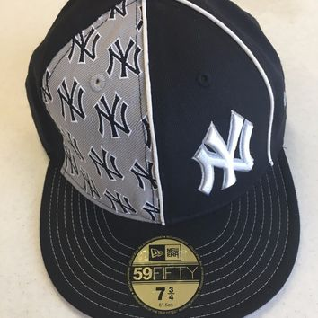 NEW ERA RETRO NEW YORK YANKEES GRAY/NAVY FRONT LOGOS 5950 FLAT BRIM FITTED HAT