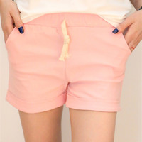 Pink Elastic Band Drawstring Casual Shorts