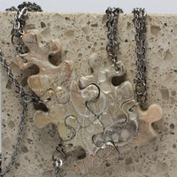 Puzzle Piece Necklace Set  of 5 Bridesmaid or Best Friend Pendants Circle and Swirl Set 52