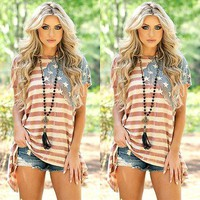 Summer Cotton T-shirt Top Striped Star 4th July