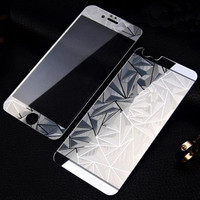 3D Diamond Mirror Color Tempered Glass Front+Back  Screen Protector Protective Film for Iphone 4 4S 5 5S 6 6S 6Plus 6Splus Case