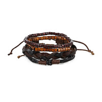 River Island MensBrown leather bracelet pack