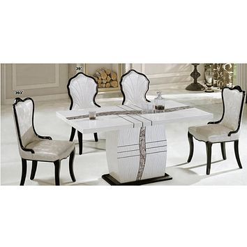 Antique Designed Dining Table With Leaf Style Chairs